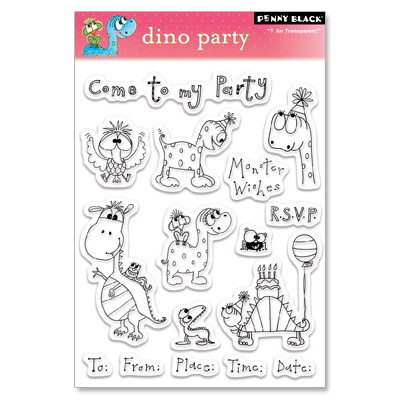 DINO PARTY Penny Black Clear Stamps Dinosaurs/Animals